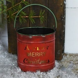 A Very Merry Christmas – Cut Out Red Tin Bucket